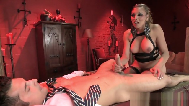 Slave man sucks.. bdsm big tits blowjob